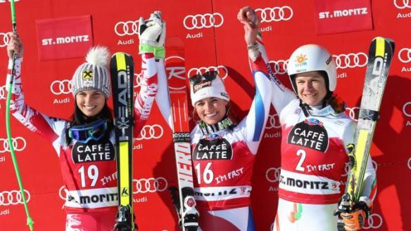 La skieuse transylvanienne a terminé à une 3ème place historique derrière Lara Gut (Suisse) et Anna Fenninger (Autriche). Photo : DR.
